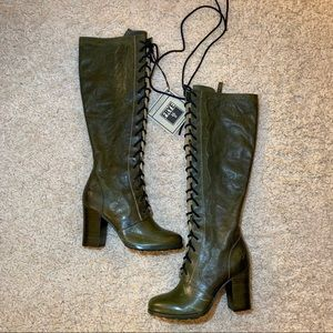 Anna Sui x Frye Green Laceup Leather Boots